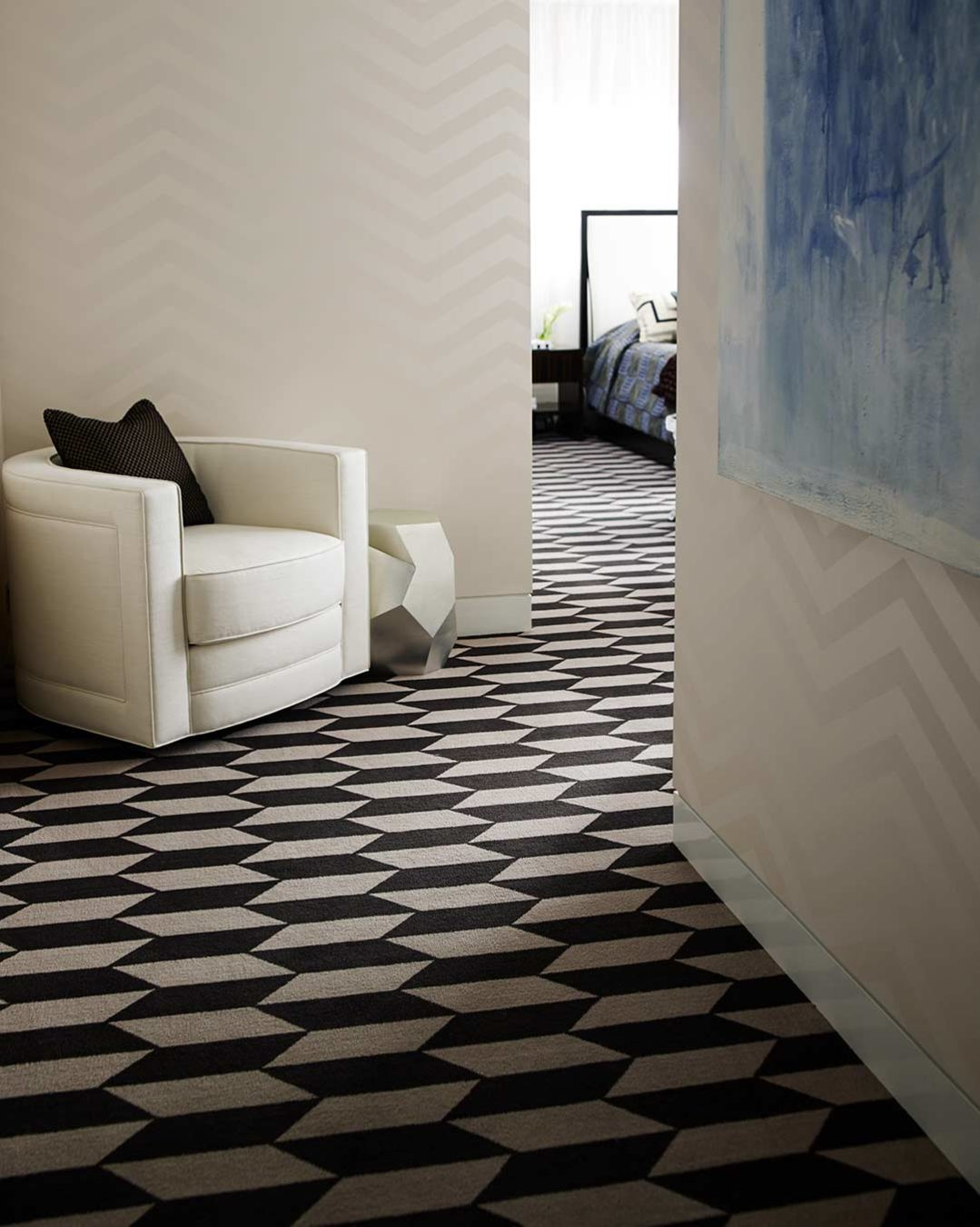 Hallway view of Christian geometric Axminster carpet by Greg Natale