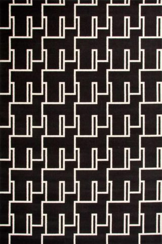 Overhead view of Dianne black and white patterned Axminster carpet by Greg Natale