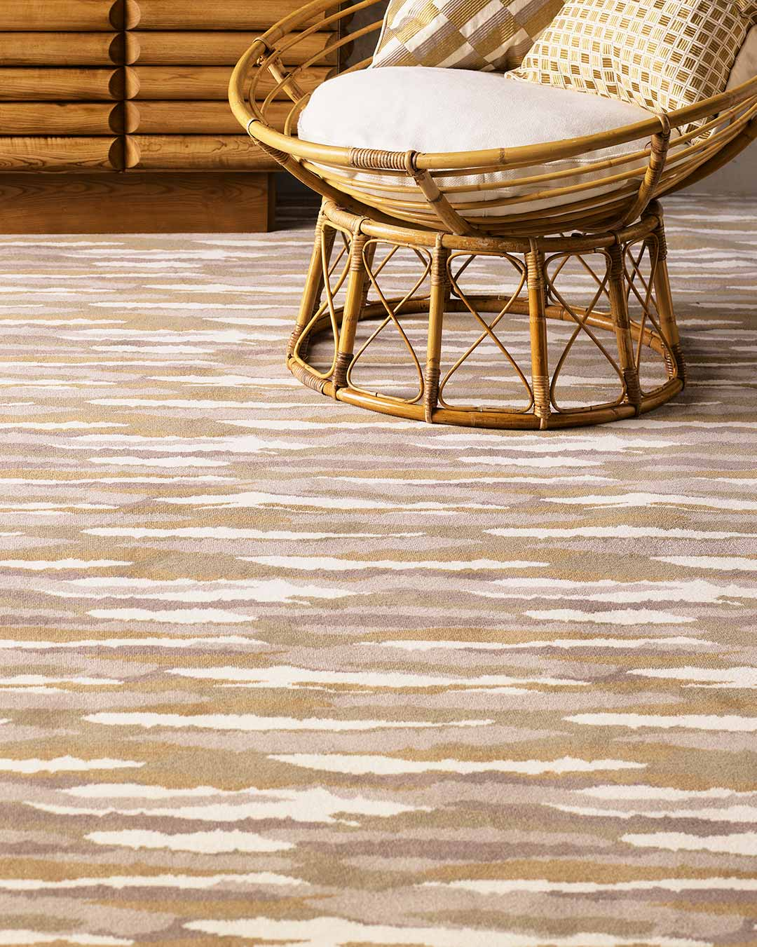 Close up view of Drift brown patterned Axminster carpet by Greg Natale