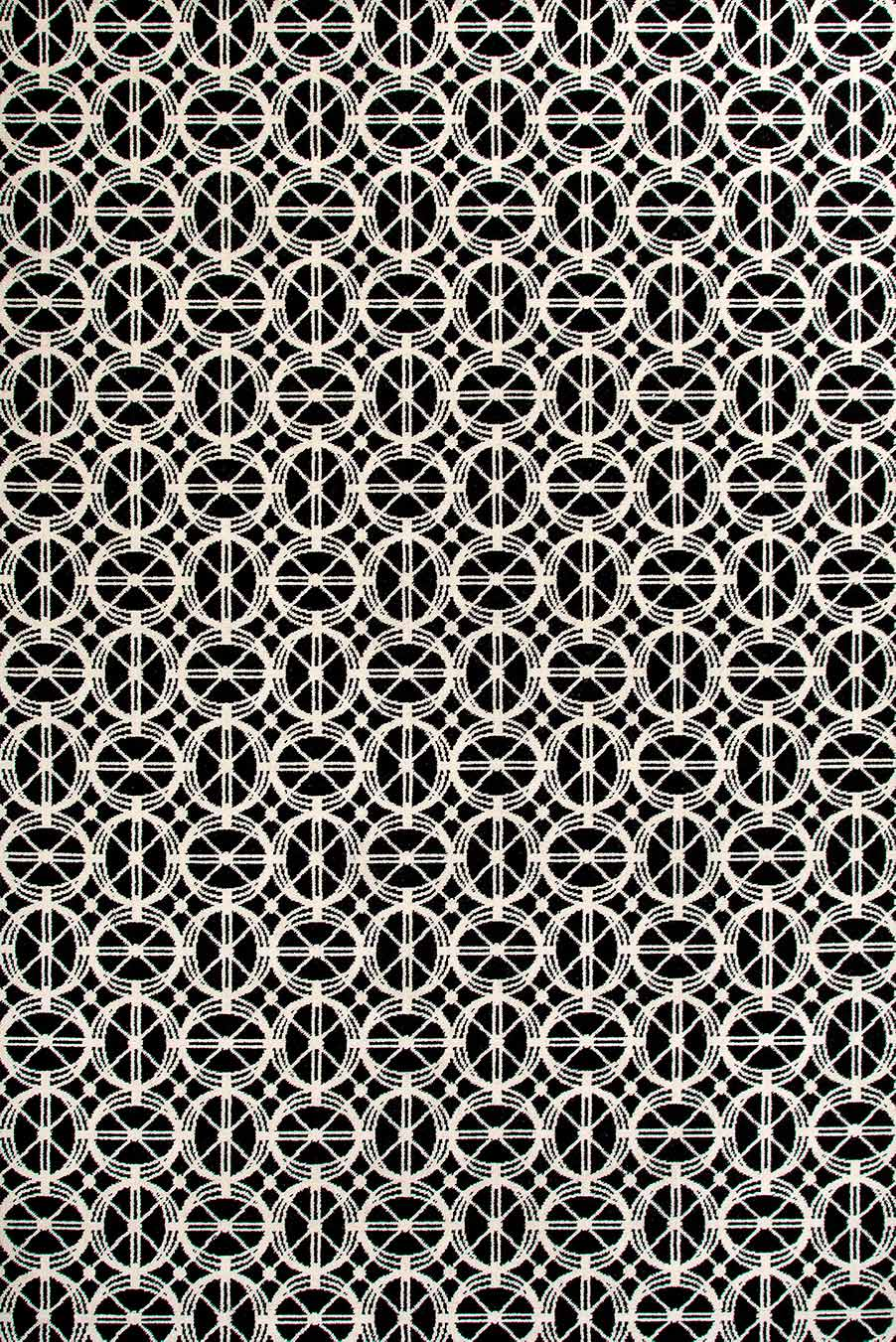 Overhead view of Emilio black and white patterned Axminster carpet by Greg Natale