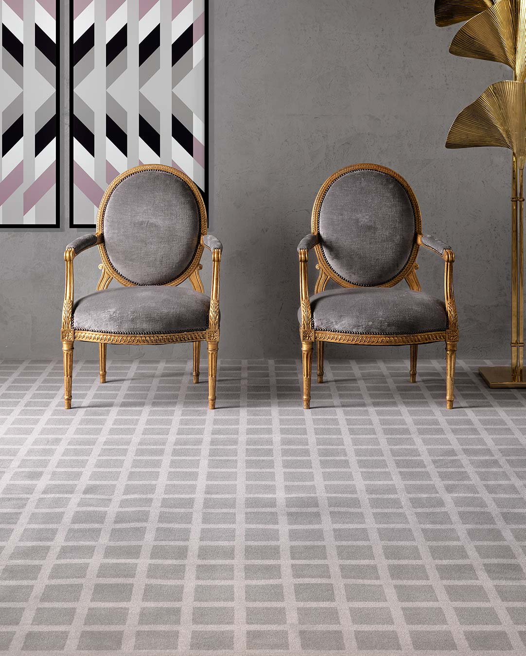 Living room view of Match grey geometric Axminster carpet by Greg Natale