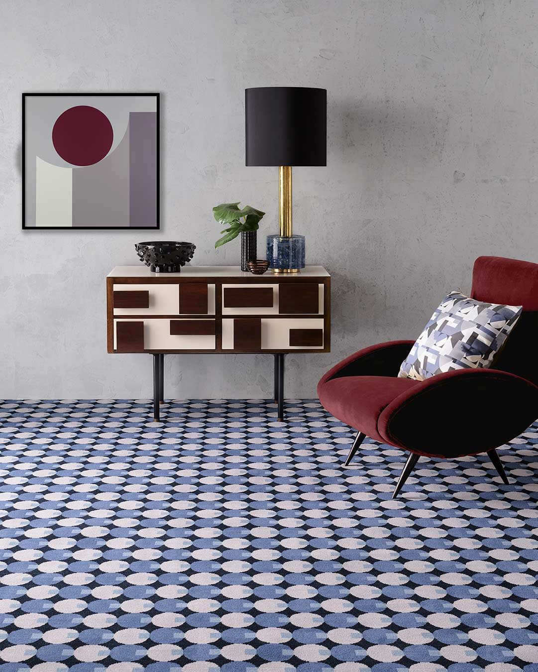 Living room view of Lapis blue geometric Axminster carpet by Greg Natale