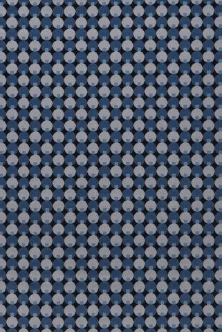 Overhead view of Lapis blue geometric Axminster carpet by Greg Natale