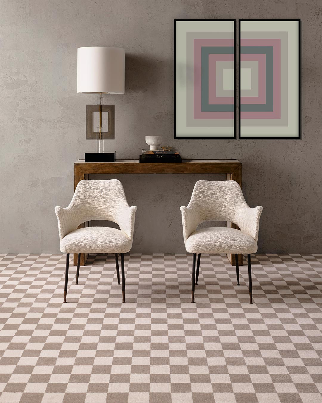 Living room view of Match checked grey Axminster carpet by Greg Natale