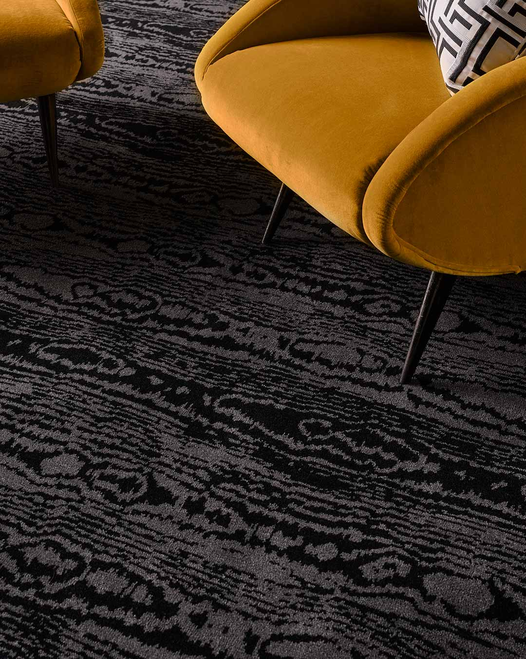 Close up view of Moire charcoal Axminster carpet by Greg Natale
