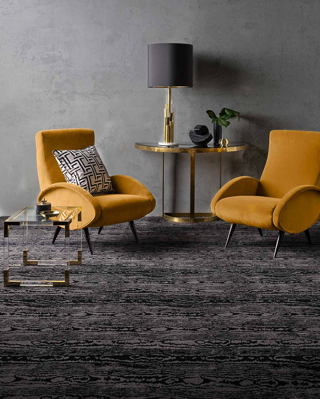 Living room view of Moire charcoal Axminster carpet by Greg Natale