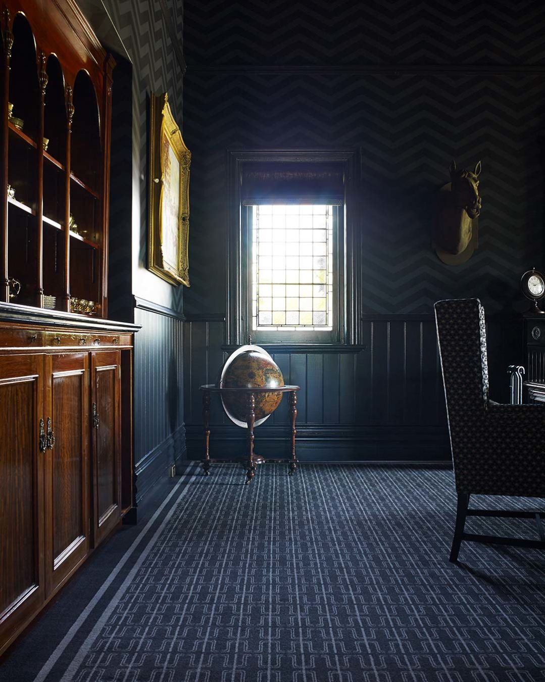 Study view of Thierry brown patterned Axminster carpet by Greg Natale