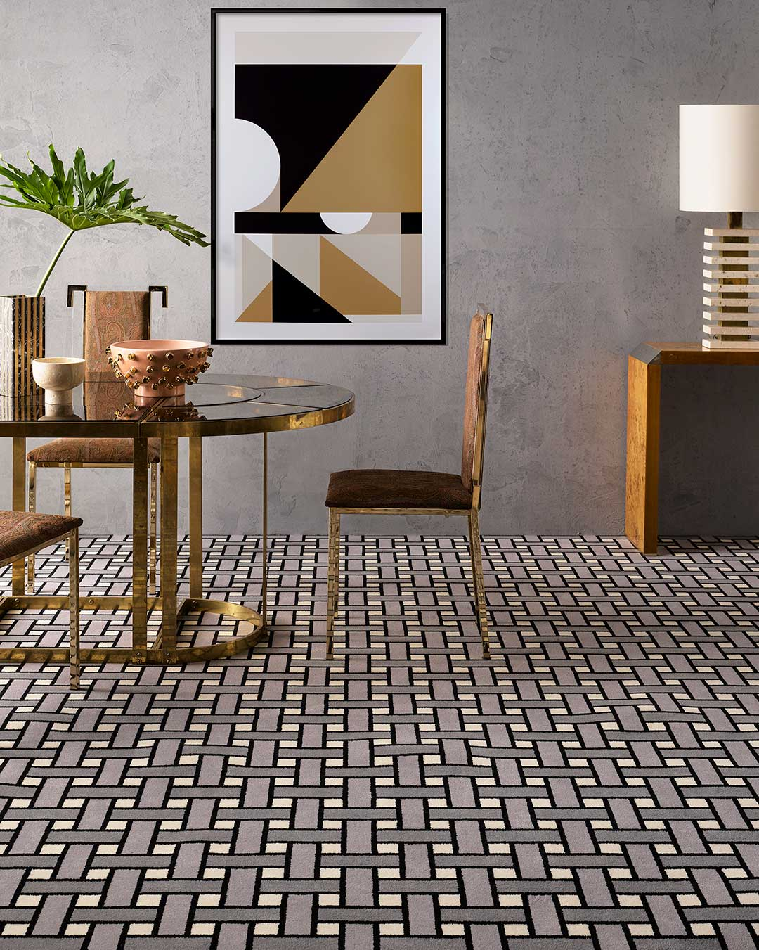 Dining room view of Weft grey geometric Axminster carpet by Greg Natale