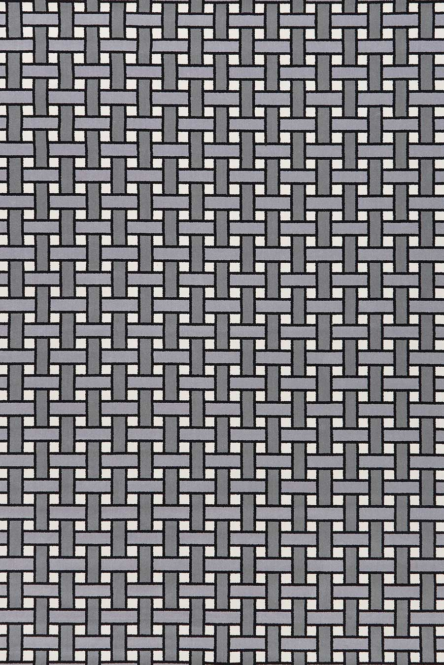 Overhead view of Weft grey geometric Axminster carpet by Greg Natale