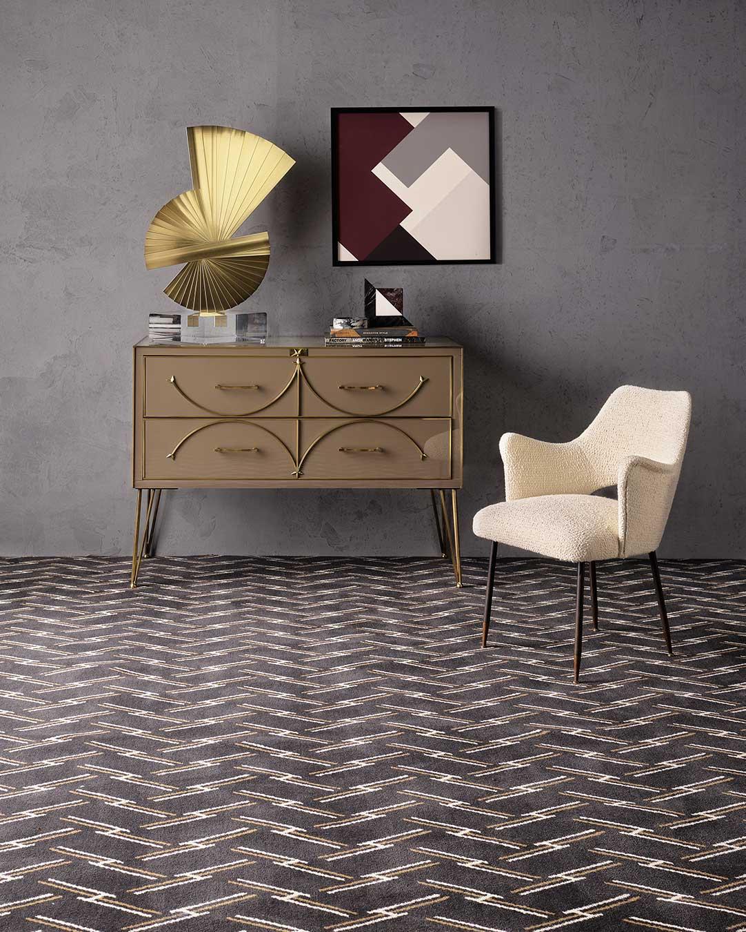 Living room view of Windsor brown geometric Axminster carpet by Greg Natale