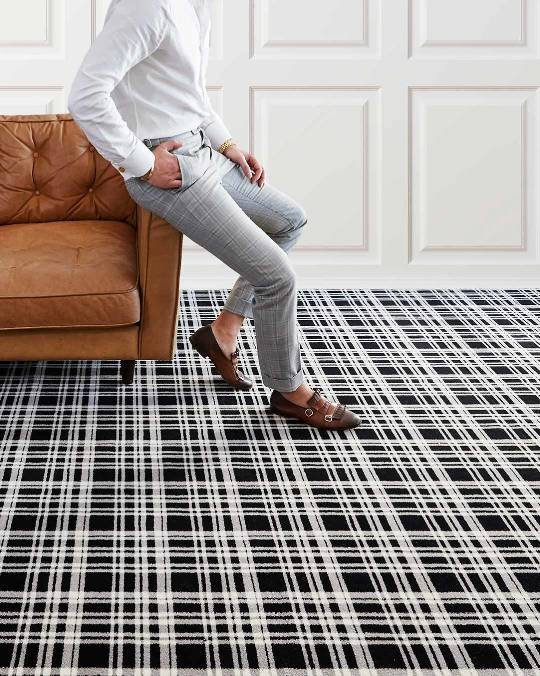 Living room view of Alford black and white tartan Axminster carpet