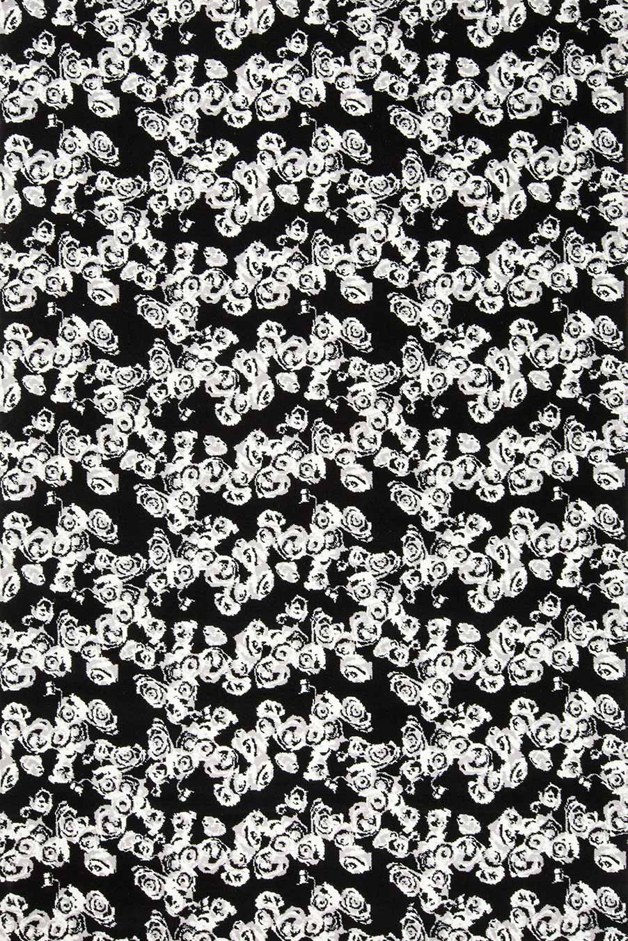 Overhead view of Iona black and white floral Axminster carpet