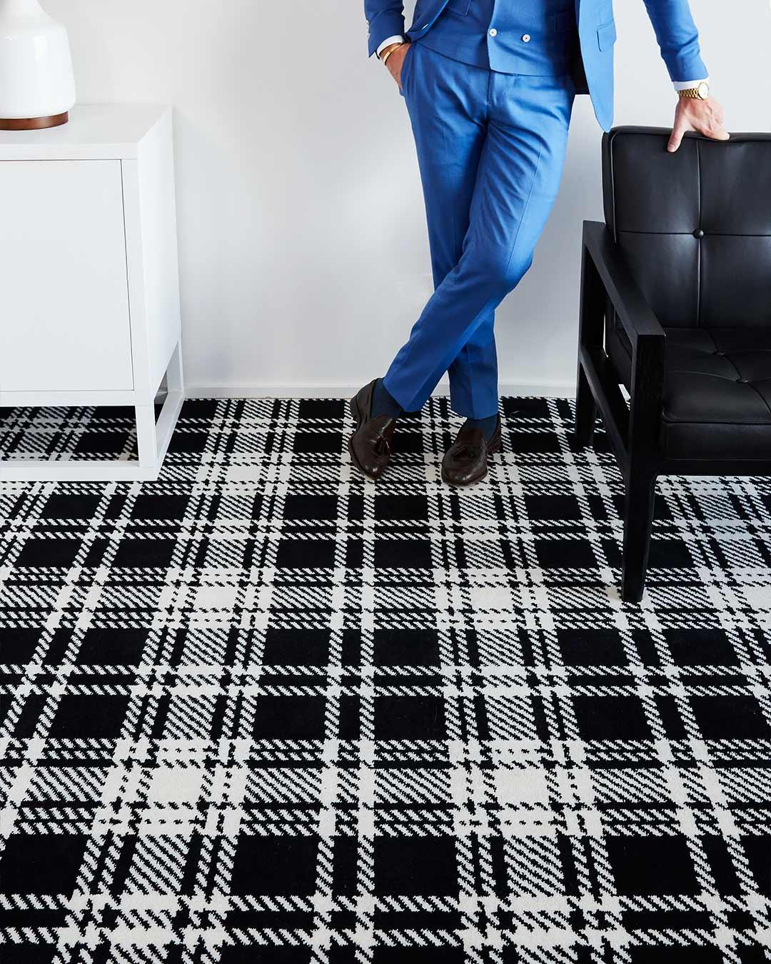 Image of Kintore black and white tartan Axminster carpet