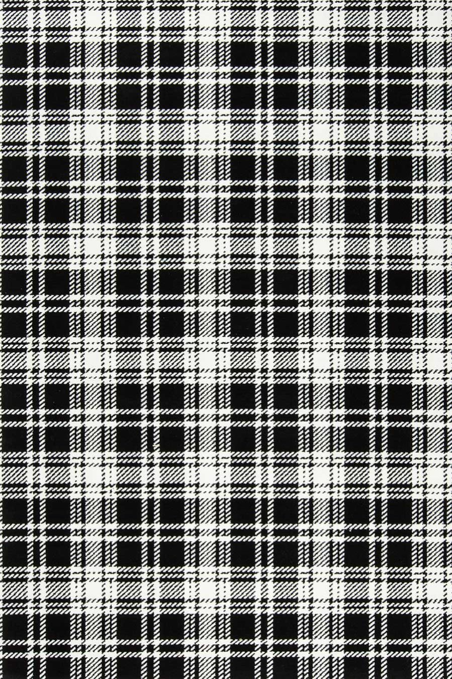 Overhead view of Kintore black and white tartan Axminster carpet