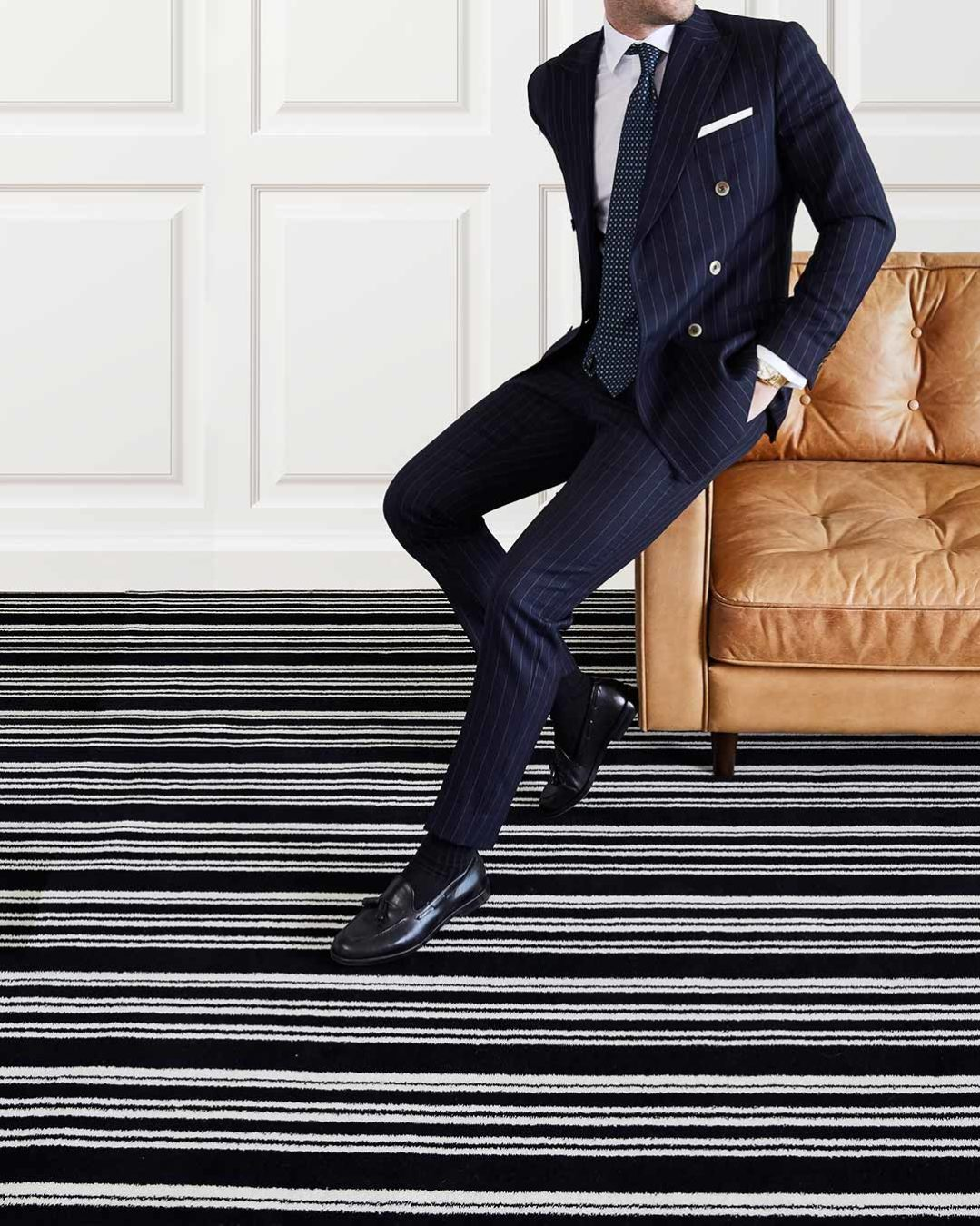 Image of Leith black and white striped Axminster carpet in living room