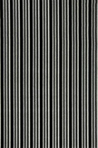 Overhead view of Leith black and white striped Axminster carpet