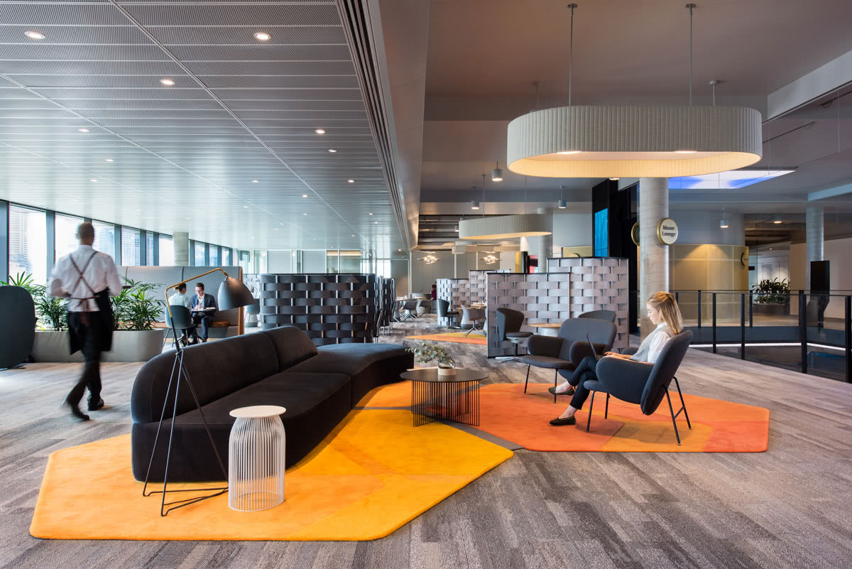 PWC custom project Sydney Common area with rugs and furniture