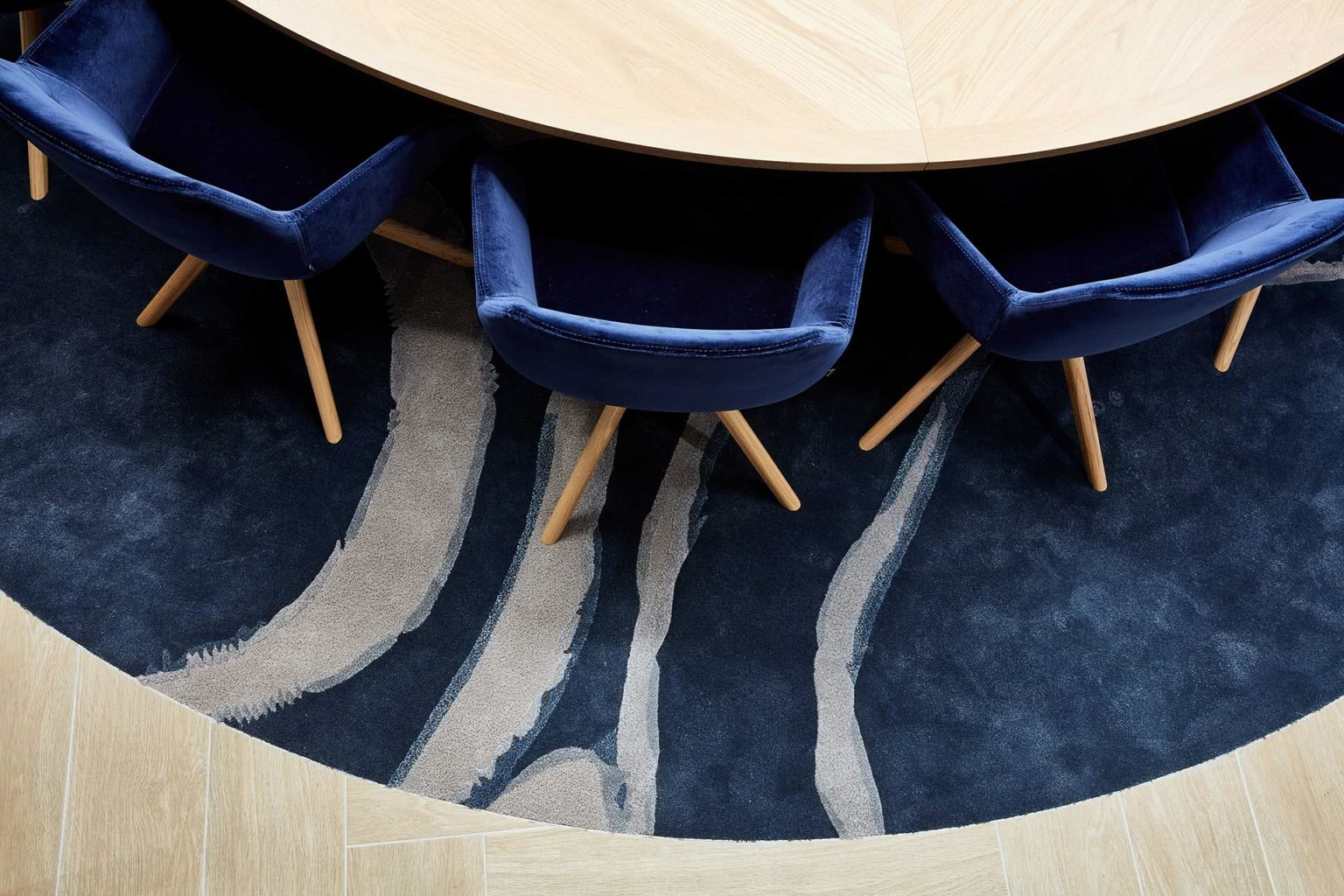Westpac Custom Studio Collabrative with rug, table and chairs