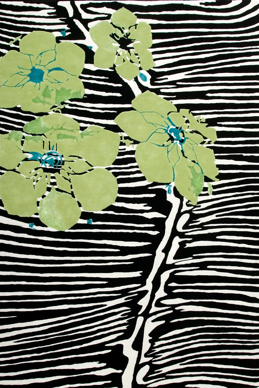 Overhead view of animal print Anthi rug by Alex Perry