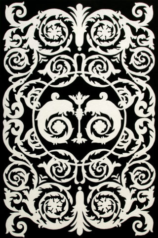 Overhead image of classic black and white Palati rug by Alex Perry