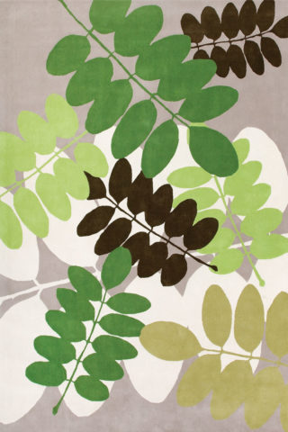 Overhead image of botanical green Kepos rug