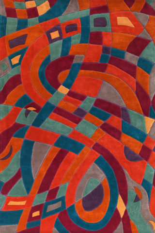 Overhead image of abstract Meander rug by Annie Georgeson