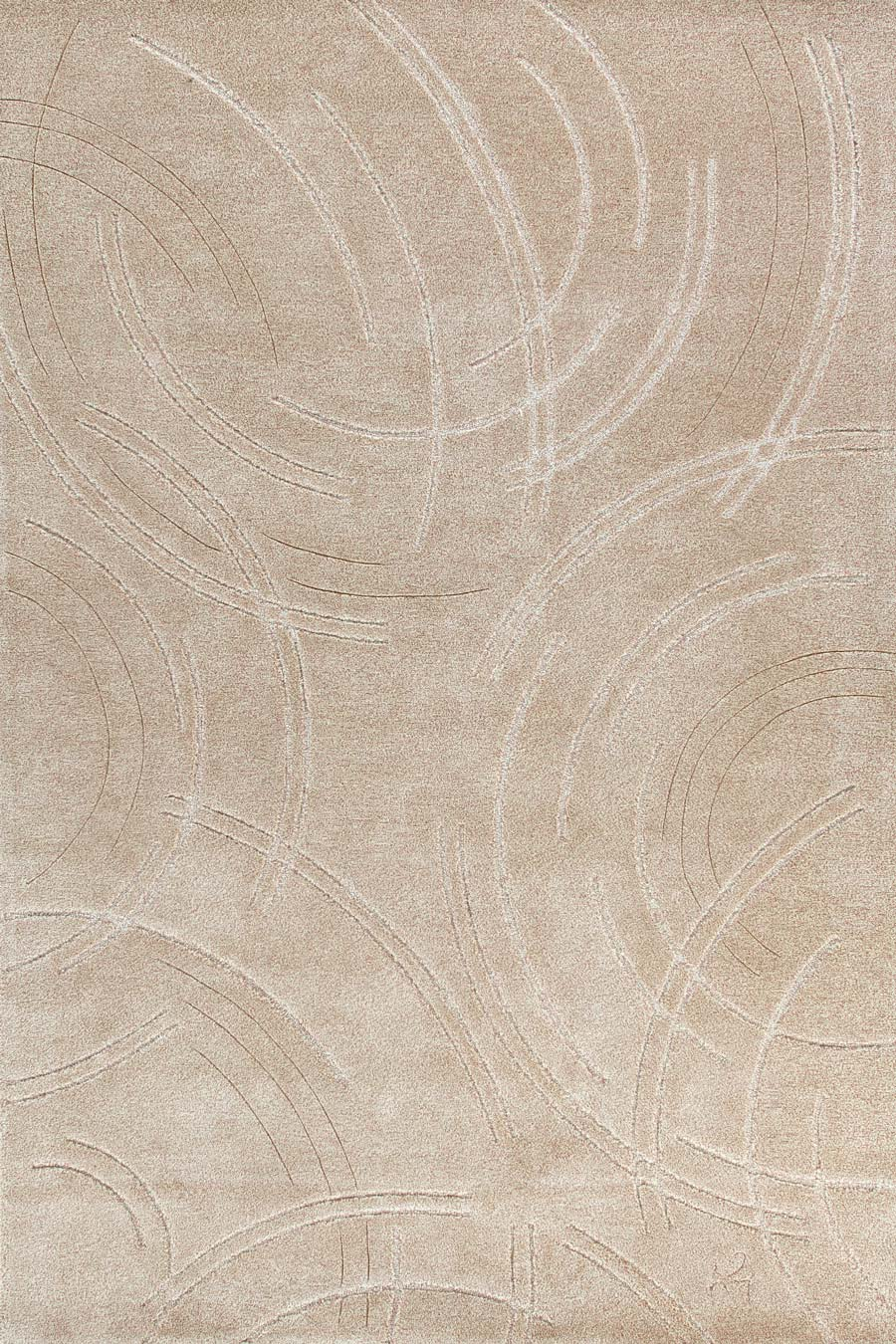 Overhead image of beige Phenomenon rug by Annie Georgeson