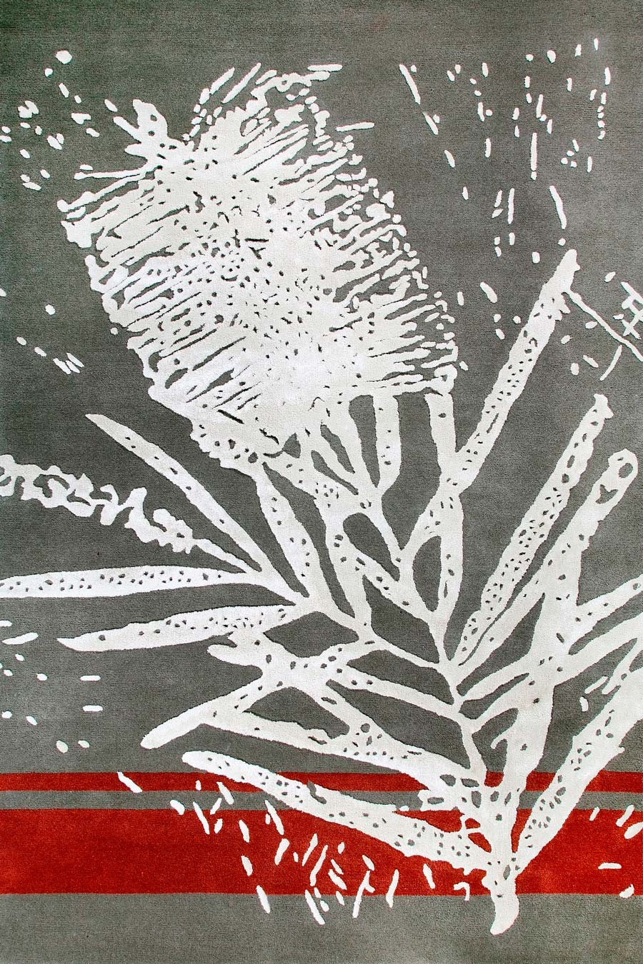 Overhead image of grey Bottlebrush rug by Cloth