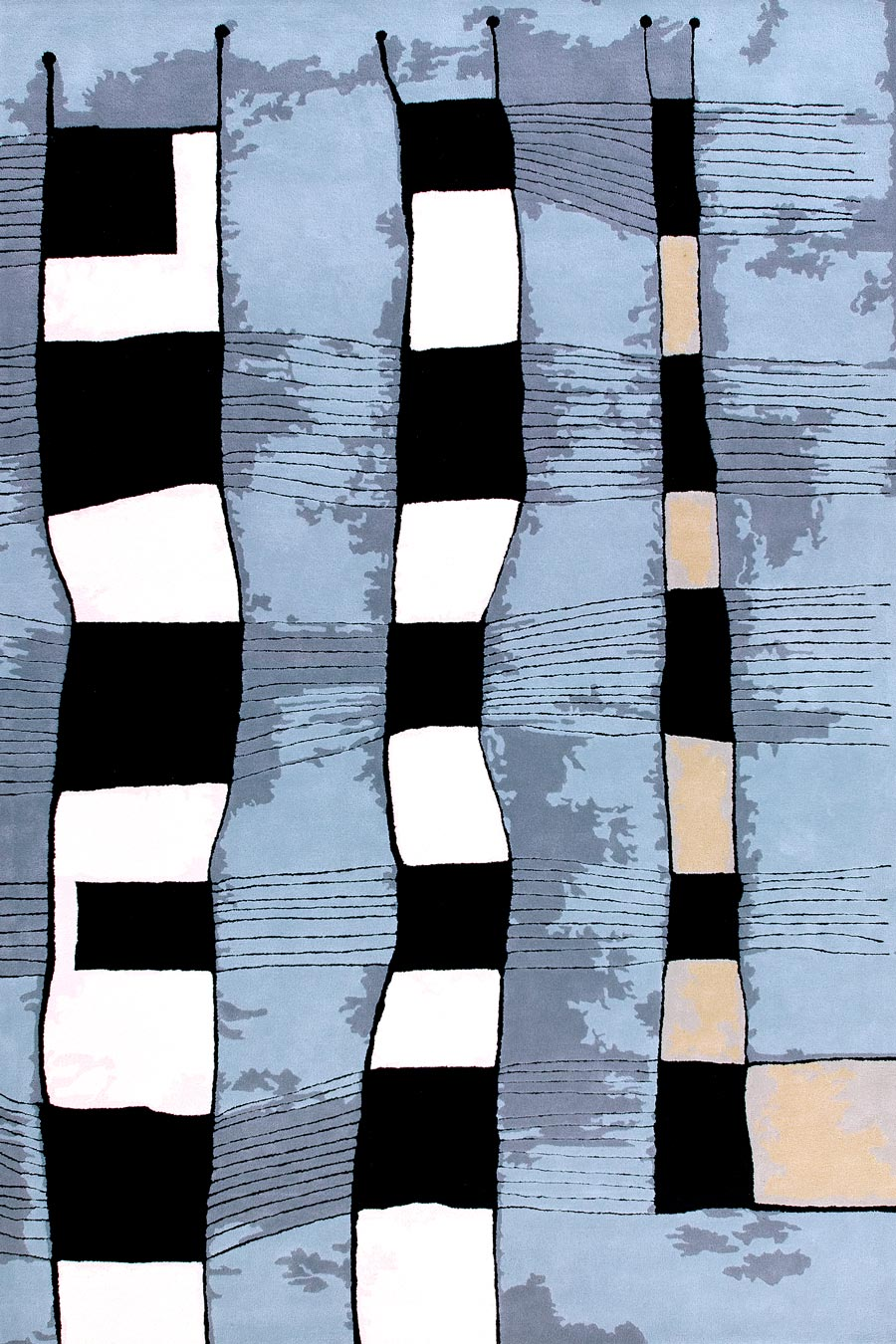 Overhead image of blue Industrial Belt rug by Cloth