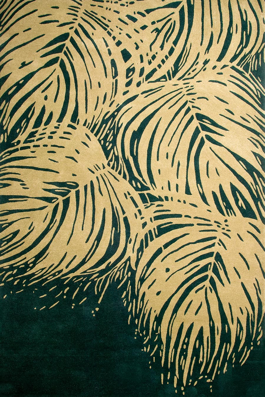Overhead image of botanical Island Palm rug by Cloth