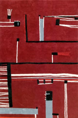 Overhead of red Ned rug by Cloth