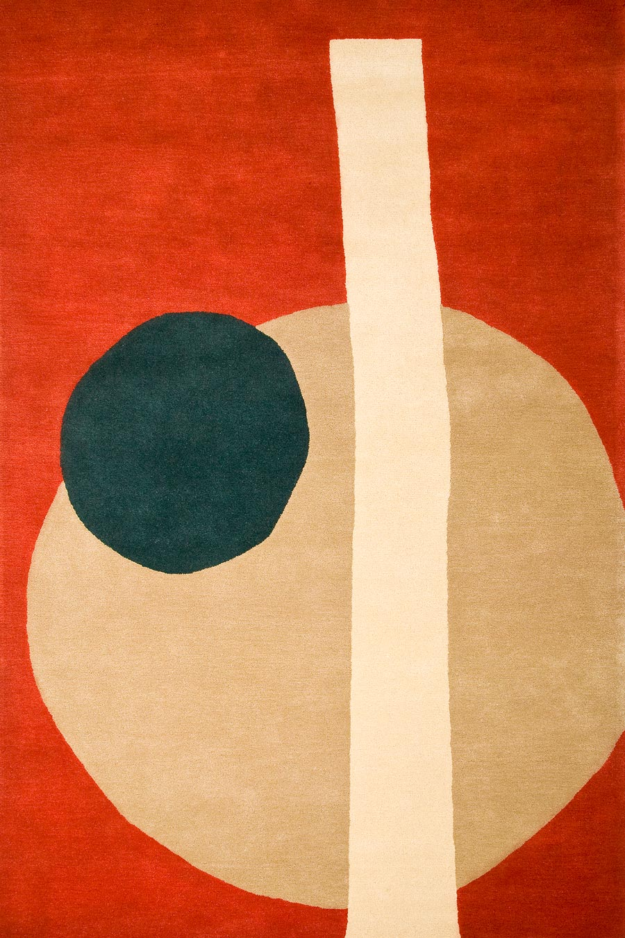Overhead image of abstract orange Stuffed Olive rug by Cloth