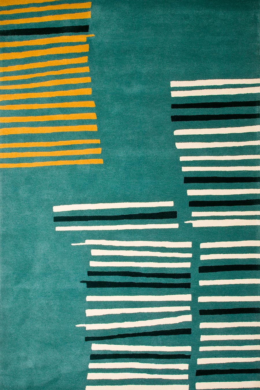 Overhead image of teal Under The Boardwalk rug by Cloth