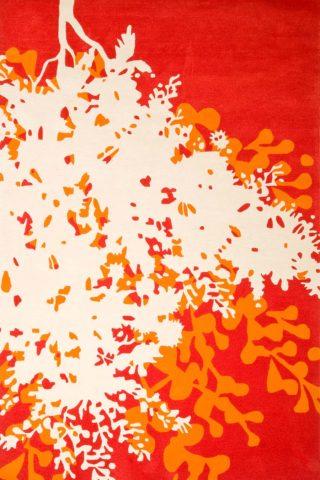Overhead image of orange Wattle Shadow rug by Cloth