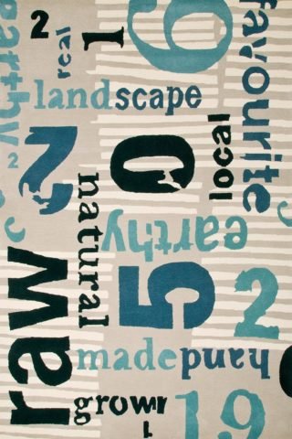 Overhead image of blue Words Worth rug by Cloth