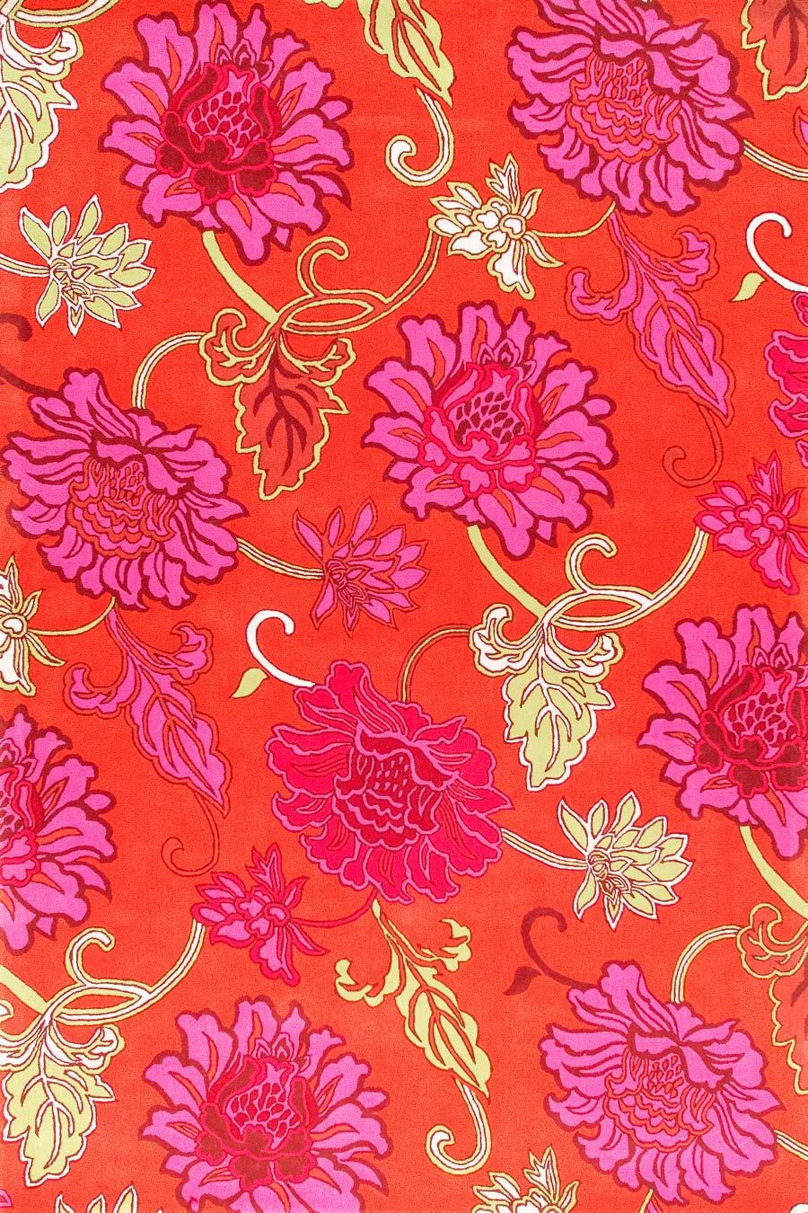 Overhead image of orange Chinoiserie rug by Vixen