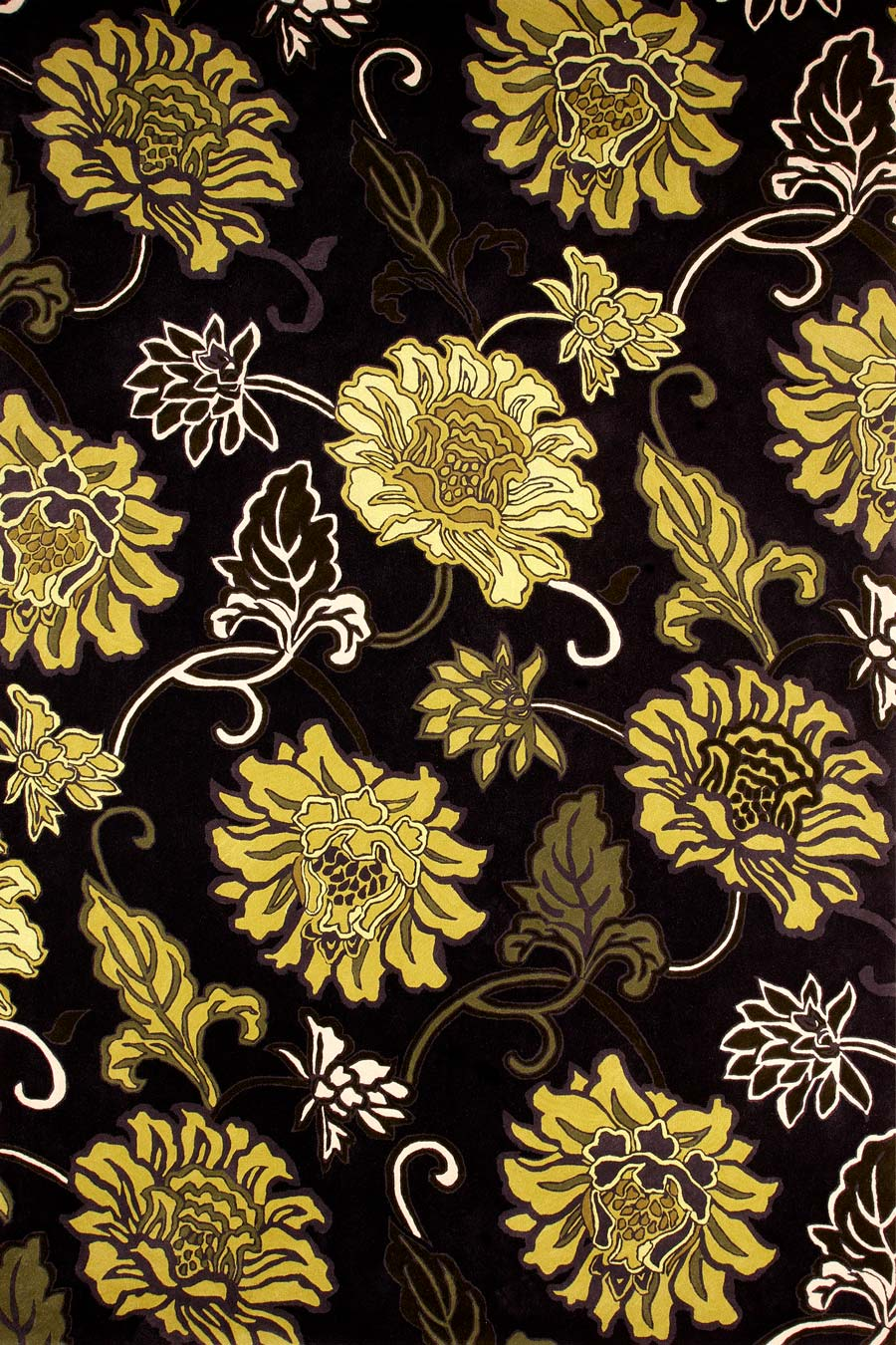 Overhead image of black Chinoiserie rug by Vixen