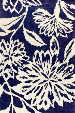 Overhead image of floral navy Ikat rug by Vixen