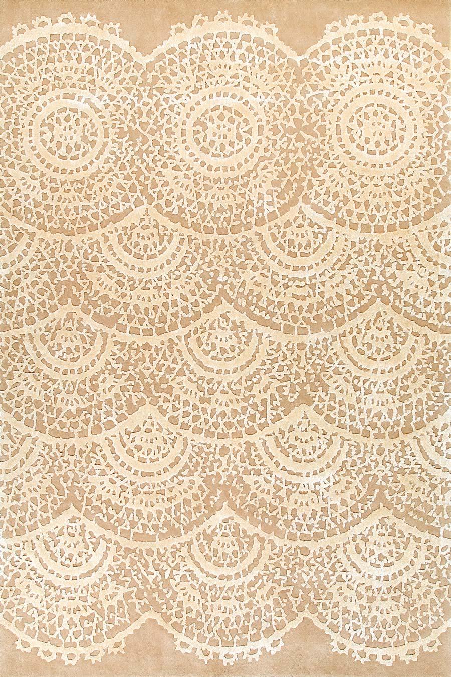 Overhead image of beige Vintage Lace rug by Vixen