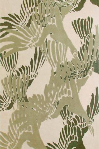 overhead of asuka 2 rug by akira in beige bird wing pattern