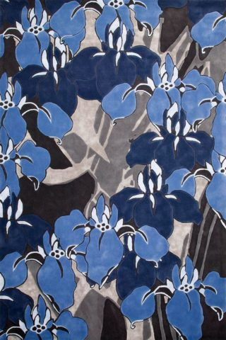 overhead of ayame rug by akira in blue floral pattern and grey background