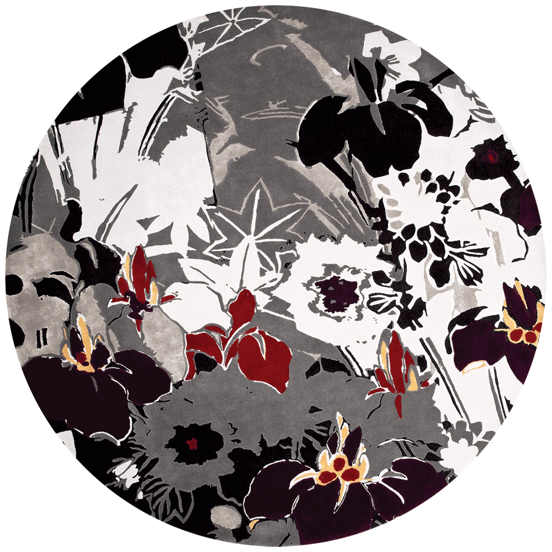 overhead of ayame round rug by akira floral pattern in grey purple and red