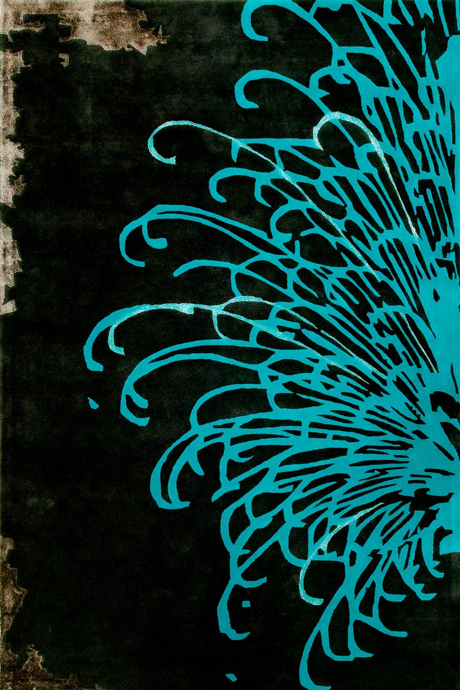 overhead of bansyu rug by akira with large blue flower and black background