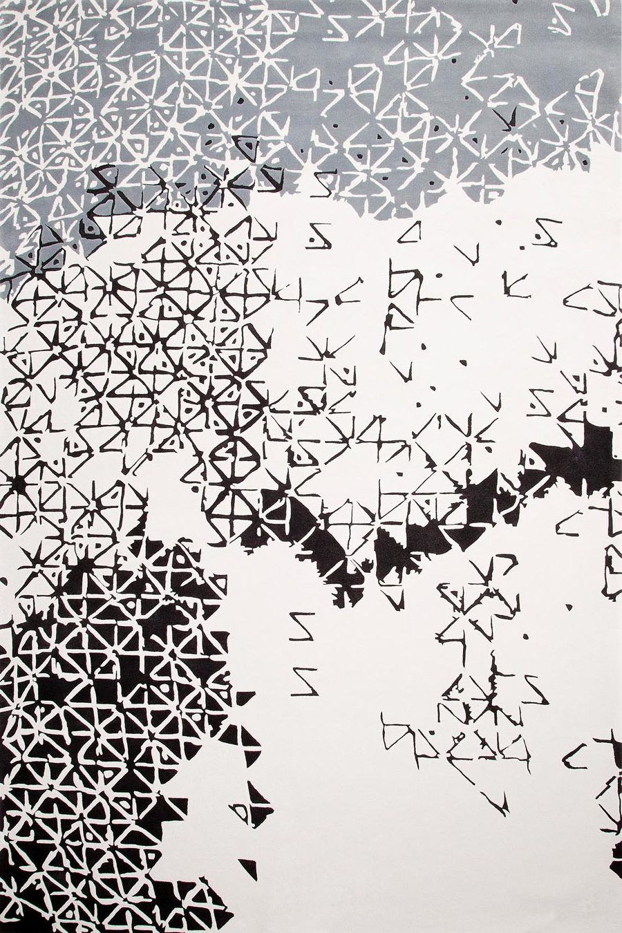overhead of batik ubud rug by akira in white black and grey pattern