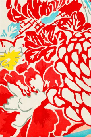 overhead of haru rug by akira in red floral pattern