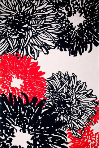 overhead of kiku rug by akira in large floral pattern