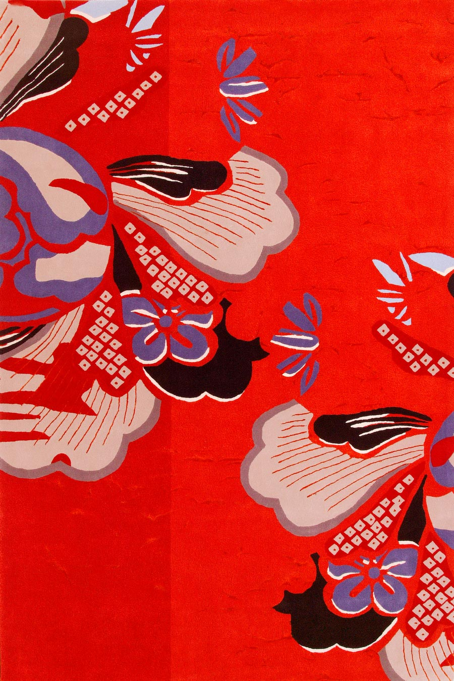 overhead of kyoto 2 rug by akira in red with floral pattern