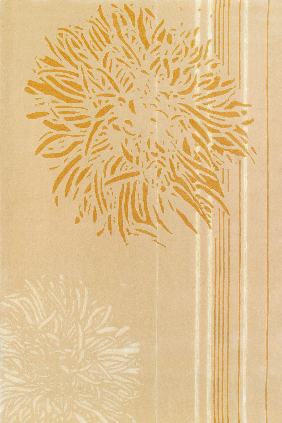 overhead of nara 2 rug by akira in gold floral pattern