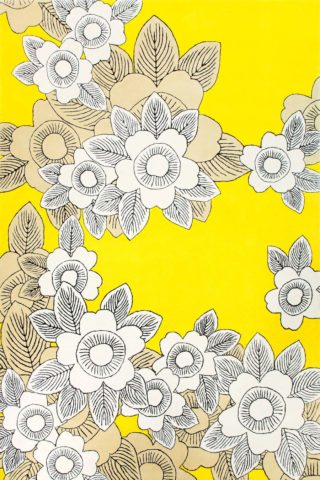 overhead of natsu rug by akira in white floral pattern with yellow background