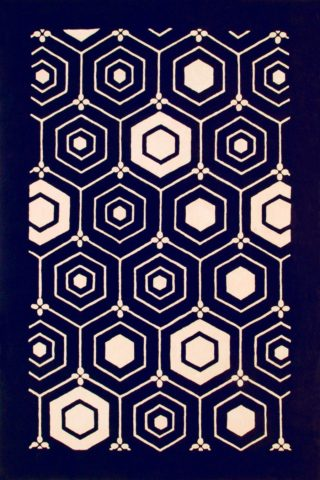 overhead of nishijin 1 rug by akira in navy geometric hexagon pattern
